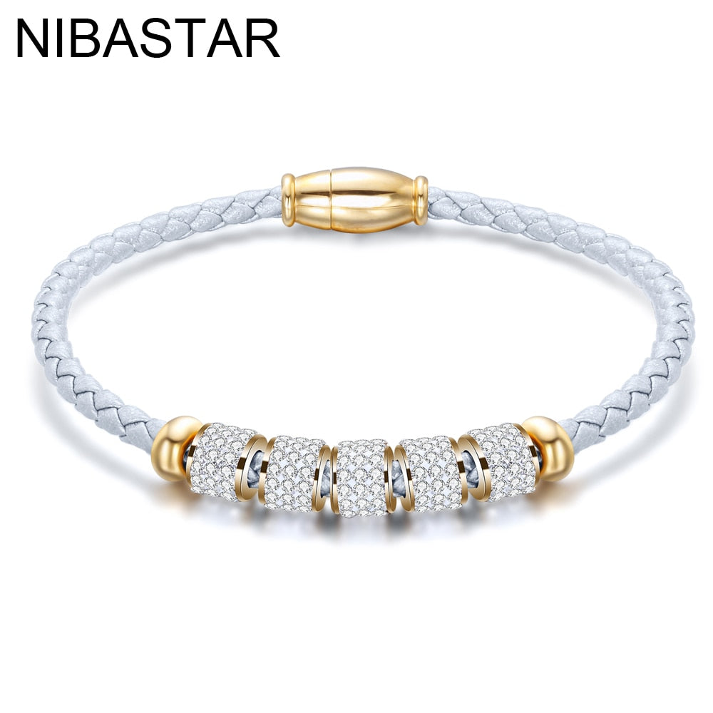 Fashion Women's  Jewelry  Leather Rope Stainless Steel  Charm Bracelet