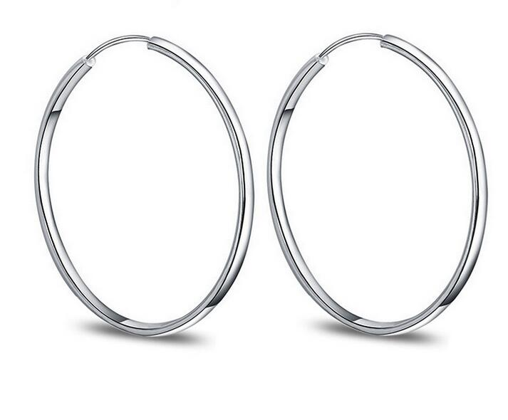 925 Sterling Silver Fashion  Circle Earring For Women