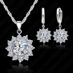 Crystal Pendant, Necklace& Earrings Set For Women Fine 925 Sterling Silver