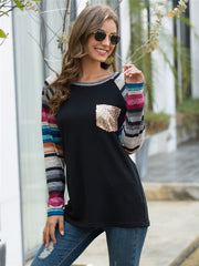 Color Striped Top Long Sleeve Sweatshirt - All4utoday