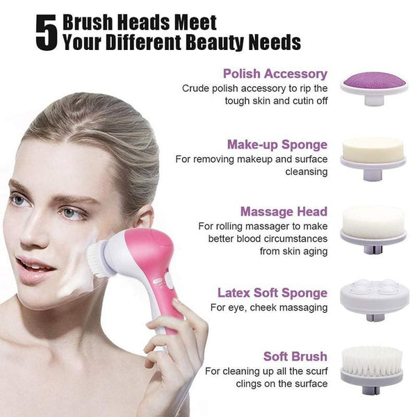 5 in 1 Face Cleansing Silicone Facial Brush - All4utoday