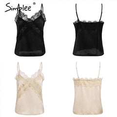 Lace Embroidery  Satin tops Elegant v-neck - All4utoday