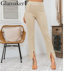 High Waist Casual Split Trousers