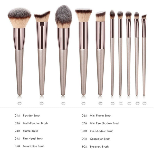 Luxury Champagne Makeup Brushes Se