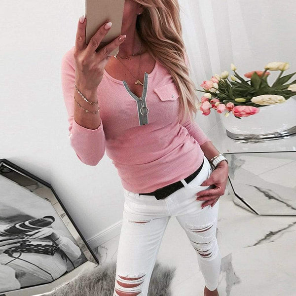 Casual Zipper Closure Neckline Long Sleeve Tops Sweatshirt - All4utoday