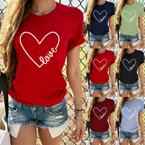Love Heart Print Valentines T-shirt