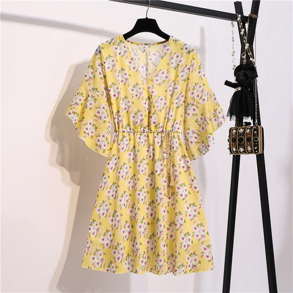 Chiffon Knee Length V-Neck Print Dress