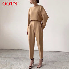 OOTN Casual High Waist Khaki Pants Women 2020 Collection