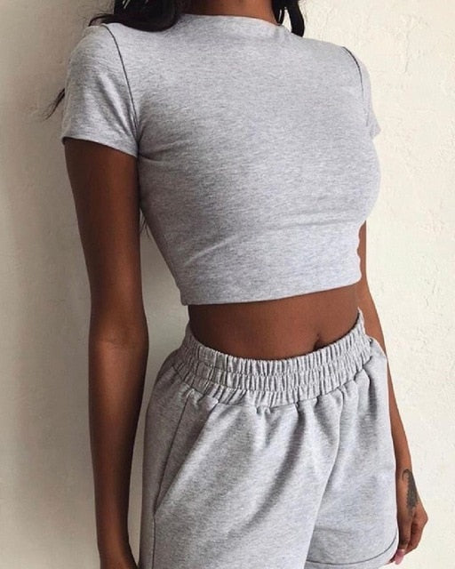 Hirigin 2 Piece Set Casual Crop Top