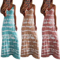 Summer Casual Loose V Neck Dress - All4utoday