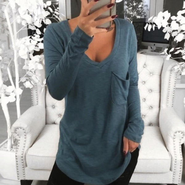 Solid Color Deep V Long Sleeve Top Front Pocket Loose Tunic T-shirt Sweatshirt - All4utoday