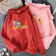Woman Cartoon Cute Velvet Hoodie Harajuku Fashion Casual Vintage Six Colors Sweatshirt With Hat