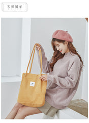 Corduroy Shoulder Bag Reusable Shopping Bags