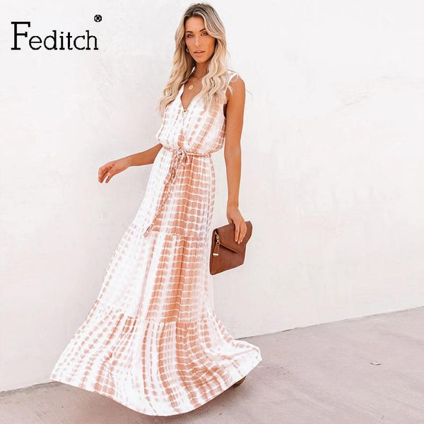 Boho Tie Summer Long Dress - All4utoday