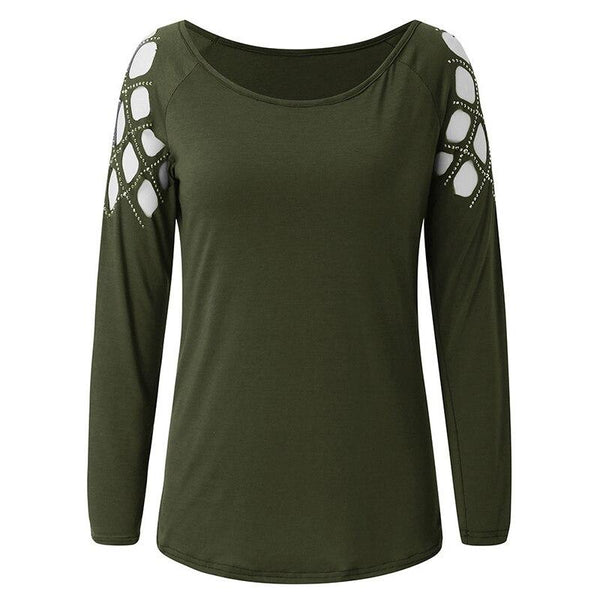 Round Neck Tops with Rhinestone Sweatshirt - All4utoday
