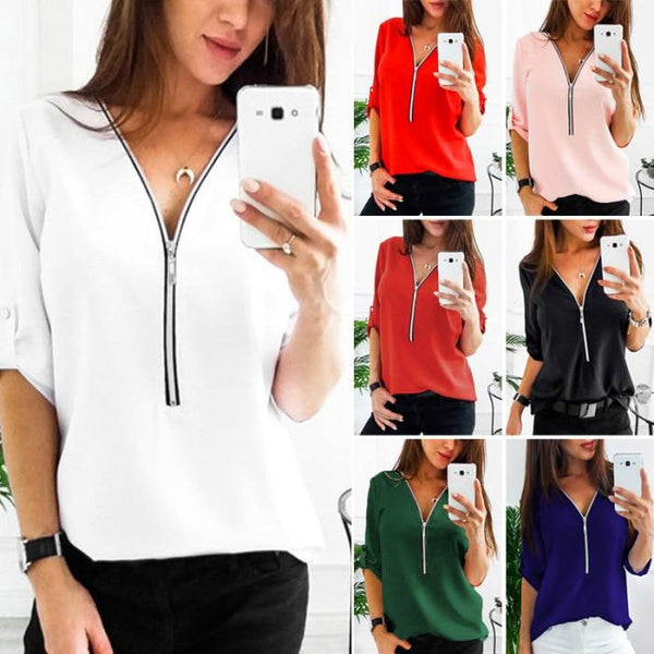 Casual Zip Up V-Neck Long Roll Sleeve Tops Sweatshirt - All4utoday