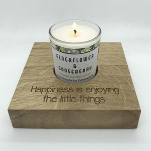 Elderflower & Gooseberry Candle in Wooden Candle Holder