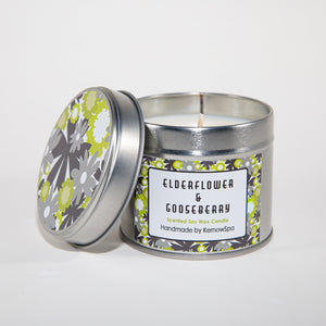 Elderflower & Gooseberry Scented Soy Wax Candle Tin - Kernowspa