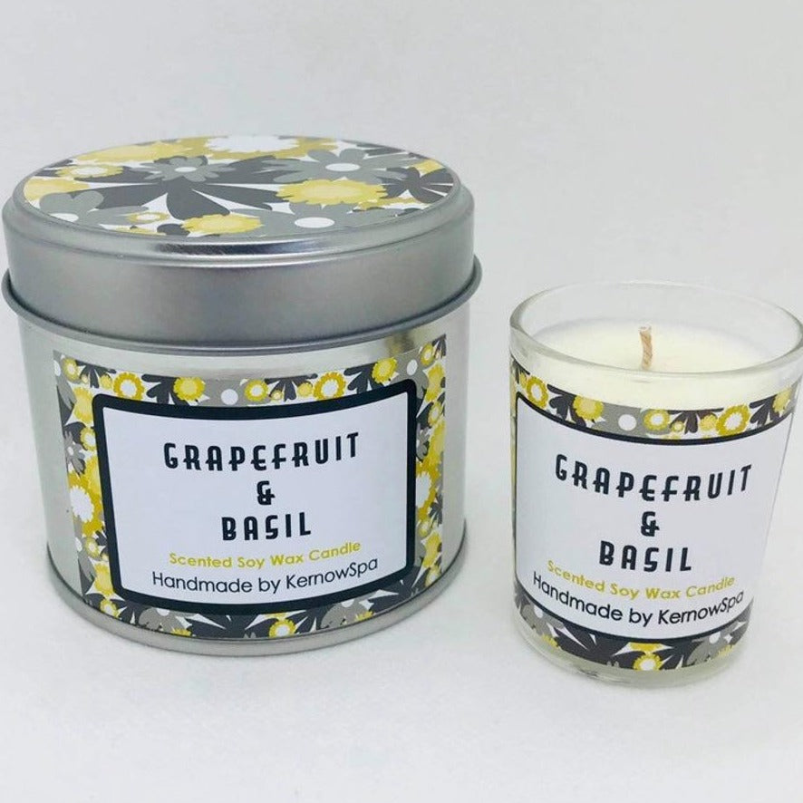 Grapefruit & Basil Candle Tin and Matching Votive Candle