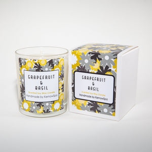 Grapefruit & Basil Large Scented Soy Wax Candle - Kernowspa