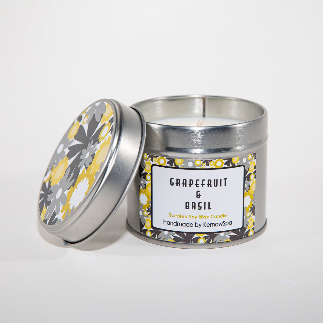 Grapefruit & Basil Scented Soy Wax Candle Tin - Kernowspa