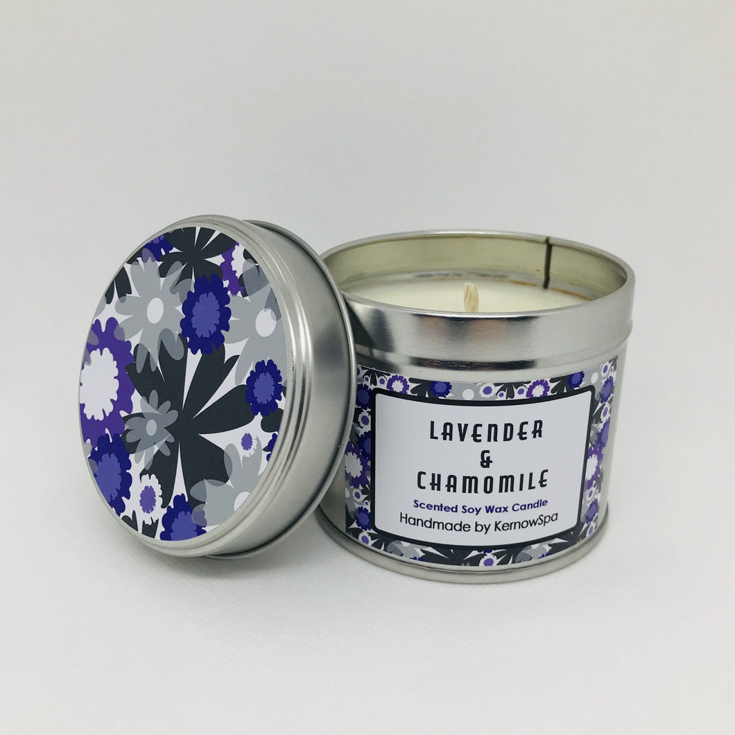 Lavender & Chamomile Scented Soy Wax Candle Tin - Kernowspa