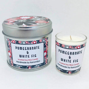 Pomegranate & White Fig Candle Tin and Matching Votive Candle
