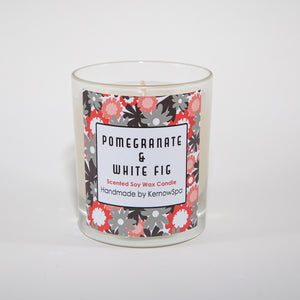Pomegranate & White Fig Scented Soy Wax Candle - Kernowspa