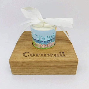Summer Candle in Wooden Candle Holder