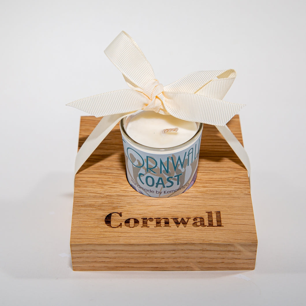 Coast Candle in Wooden Candle Holder - Kernowspa
