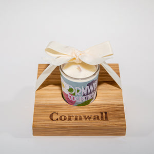 Country Candle in Wooden Candle Holder - Kernowspa