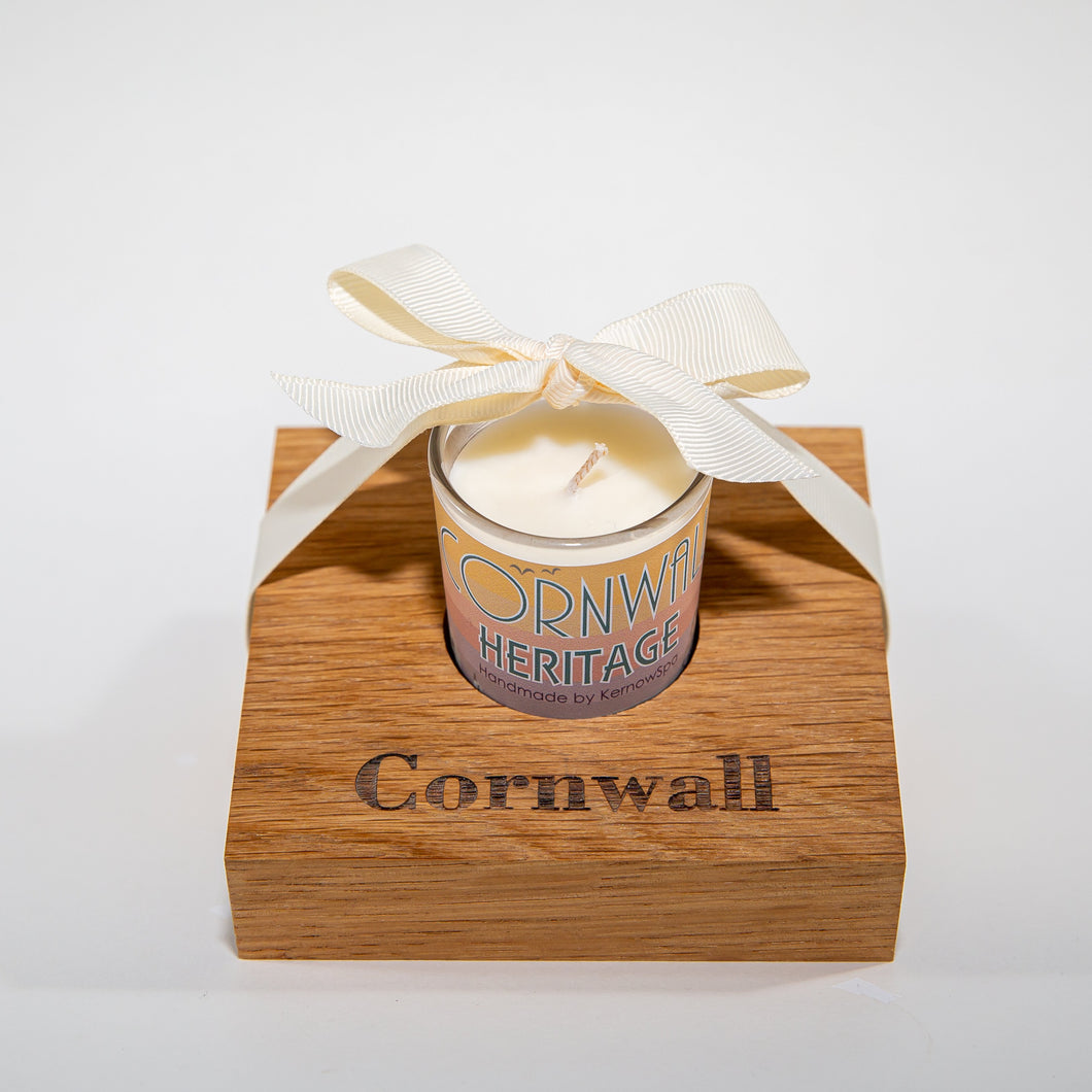 Heritage Candle in Wooden Candle Holder - Kernowspa