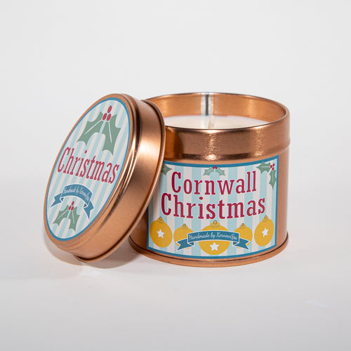 Cornwall Christmas Candle Tin - Kernowspa