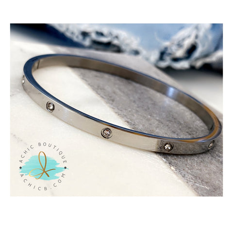 Silver Studded Thin Bangle
