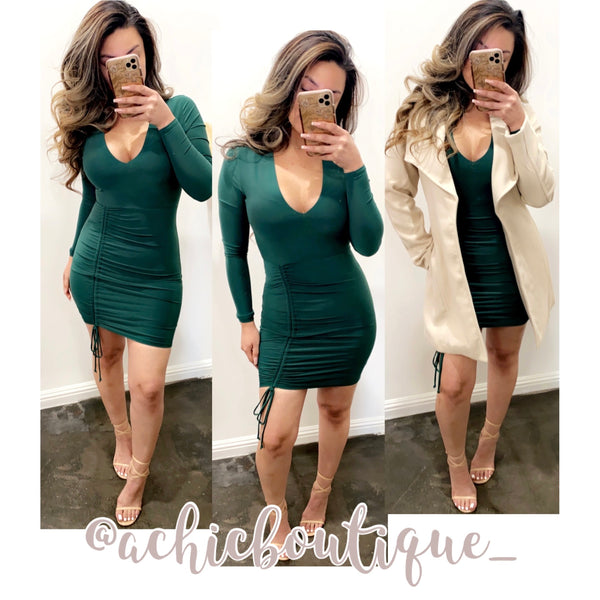 Karen Mini Dress- Hunter Green