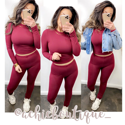 Bethany Leggings & Long Sleeve Set- Burgundy