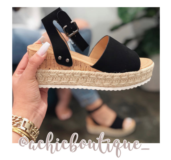 Summer Essential Flatform Sandal- Black
