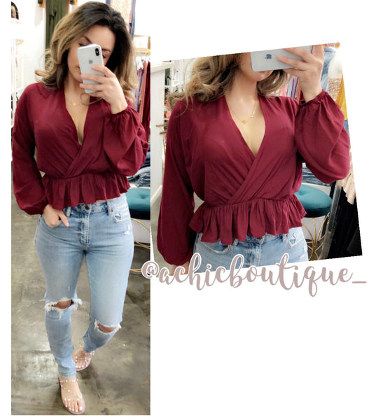 Ally Blouse- Burgundy