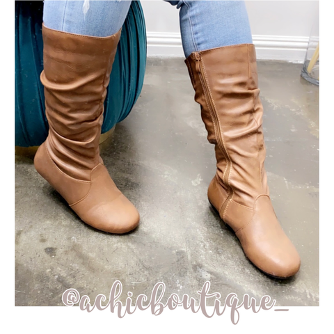 Courtney Calf Boots- Tan