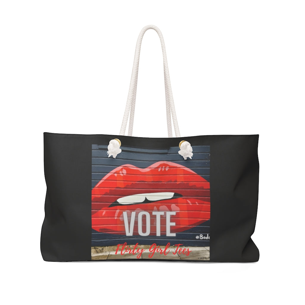 Red Lips-Vote-Weekender Bag - Flirty Girl Tees