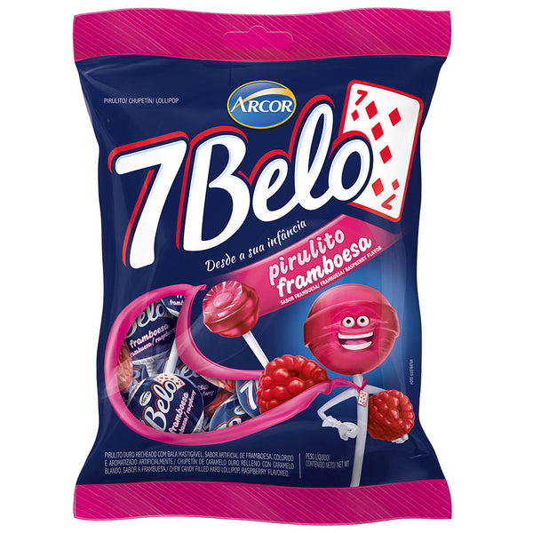 7 Belo Raspberry Lollipop 21.16oz - Pirulito 7 Belo 600g