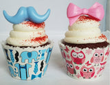 Gender Reveal Blue Mustache and Pink Bow Cupcake Toppers - Set of 12