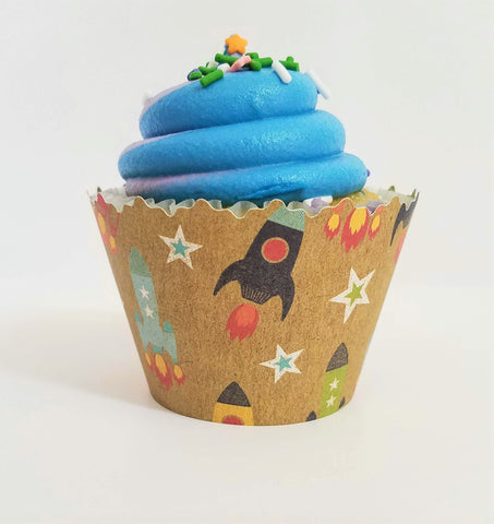 Rocket Ships Blast Off! Cupcake Wrappers - Set of 12