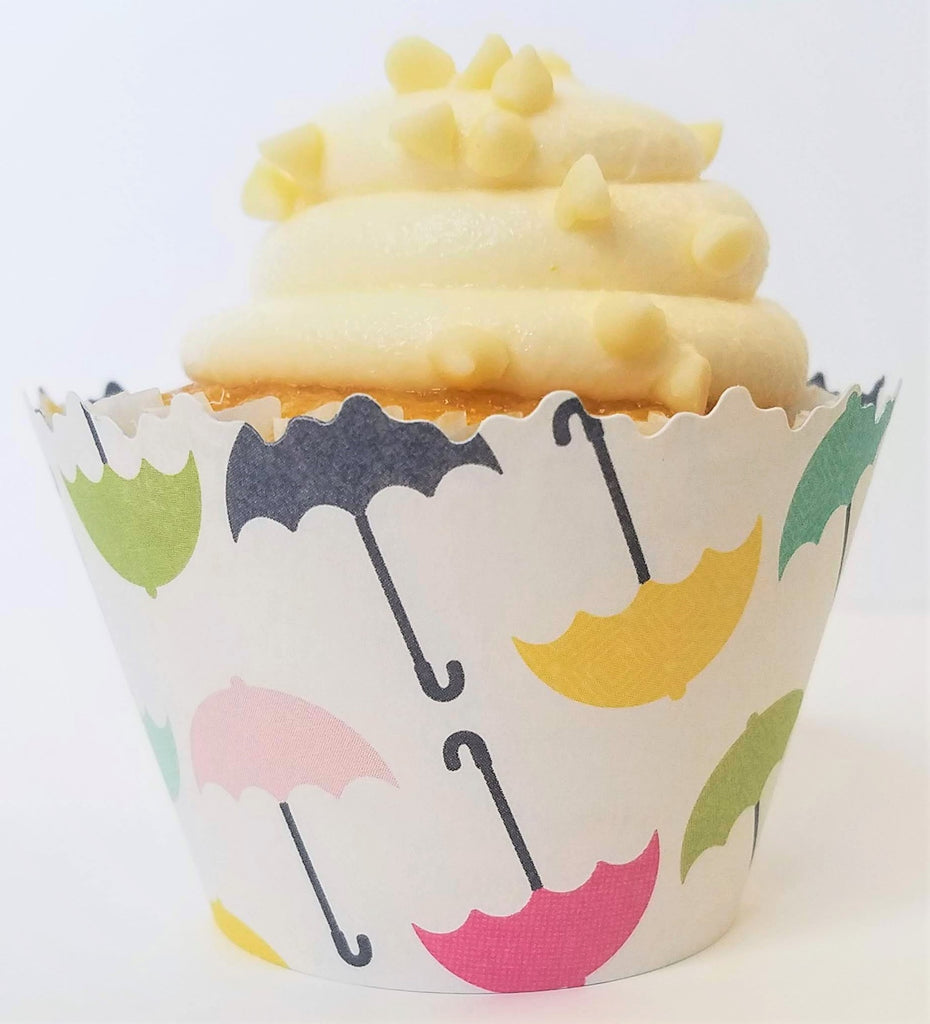Flowers & Umbrellas Cupcake Wrappers - Set of 12