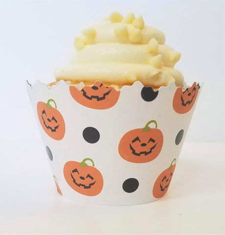 Halloween Pumpkins & Ghosts Cupcake Wrappers - Set of 12
