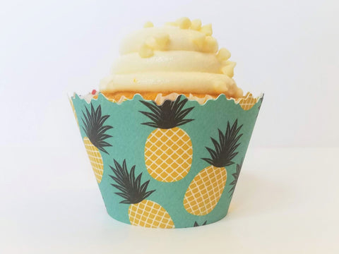 Pineapple & Stripes Cupcake Wrappers - Set of 12