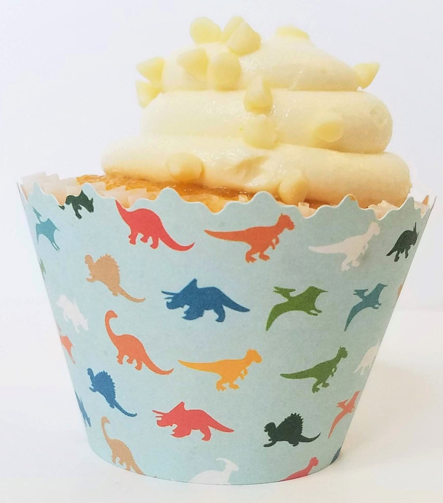 Dinosaur Print & Orange Polka Dot Cupcake Wrappers - Set of 12