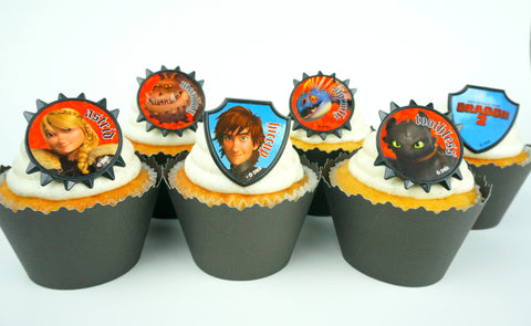 How to train your Dragon cupcake toppers/wrappers COMBO - Set of 24 items