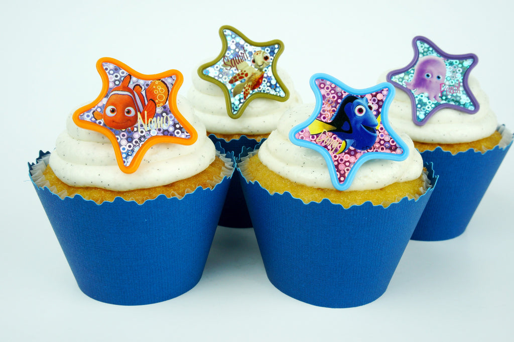 Simply Wrappers - Finding Nemo Colorful Starfish and Blue cupcake toppers/wrappers COMBO - Set of 24 items