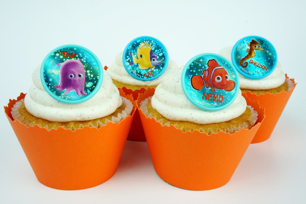 Simply Wrappers - Finding Nemo blue bubbles and Orange cupcake toppers/wrappers COMBO - Set of 24 items